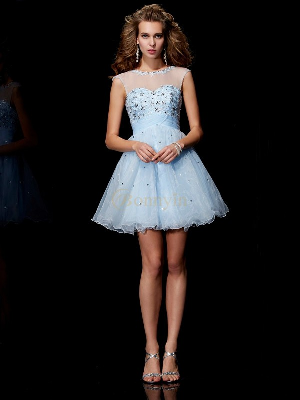 Light Sky Blue Elastic Woven Satin Net Tulle Scoop A-Line/Princess Short/Mini Cocktail Dresses
