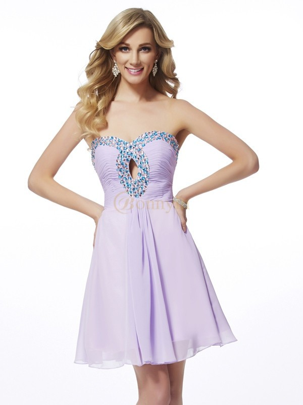 Lilac Chiffon Sweetheart A-Line/Princess Short/Mini Cocktail Dresses