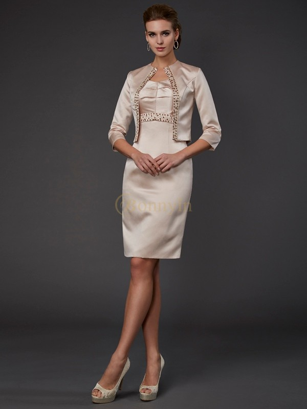 Champagne Satin Square Sheath/Column Knee-Length Mother of the Bride Dresses
