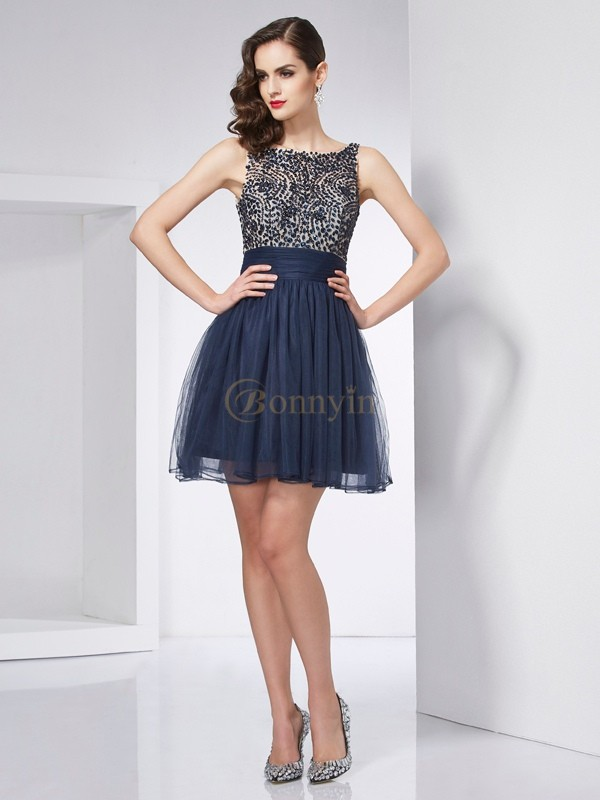 Dark Navy Tulle Bateau Sheath/Column Short/Mini Cocktail Dresses