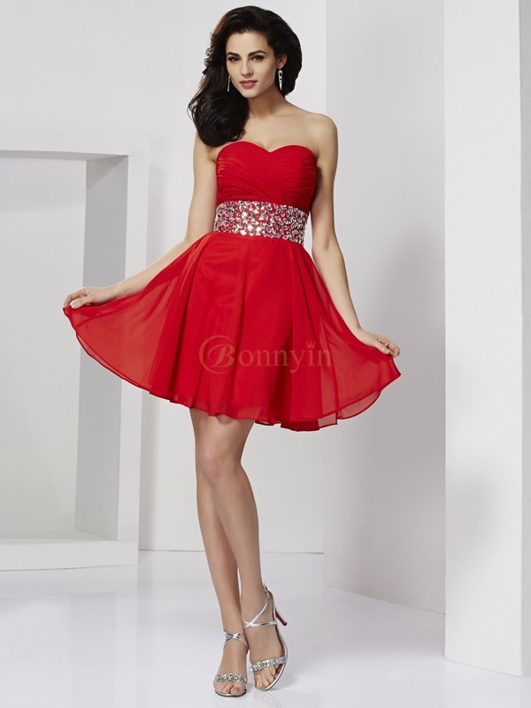 Red Chiffon Sweetheart A-Line/Princess Short/Mini Cocktail Dresses