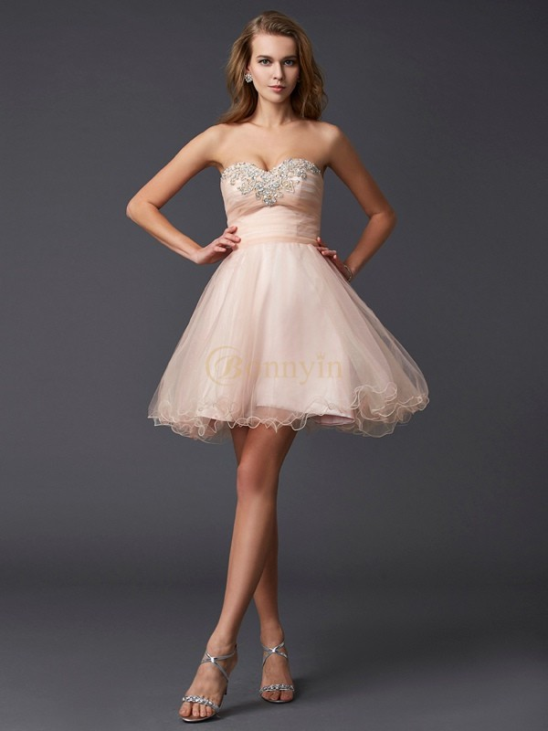 Pearl Pink Silk like Satin Sweetheart A-Line/Princess Short/Mini Cocktail Dresses
