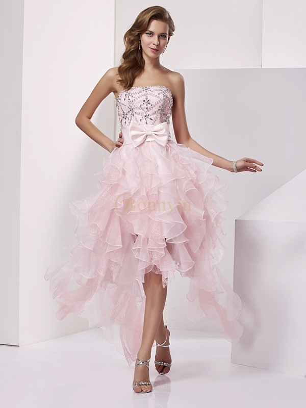 Pink Organza Strapless A-Line/Princess Asymmetrical Cocktail Dresses