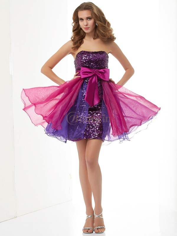 Fuchsia Organza Strapless A-Line/Princess Short/Mini Cocktail Dresses