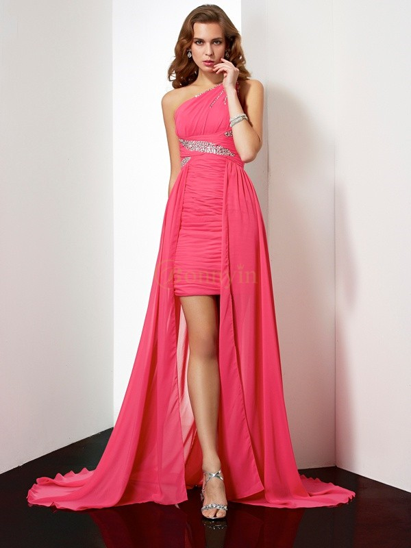 Fuchsia Chiffon One-Shoulder Sheath/Column Short/Mini Cocktail Dresses