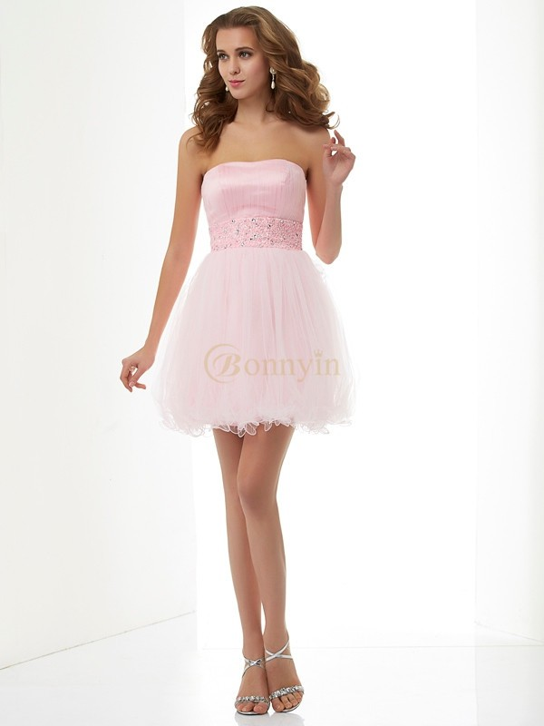 Pink Elastic Woven Satin Net Sweetheart Sheath/Column Short/Mini Cocktail Dresses