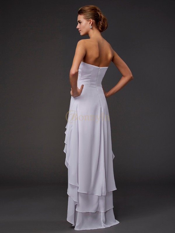 White Chiffon Sweetheart A-Line/Princess Asymmetrical Dresses