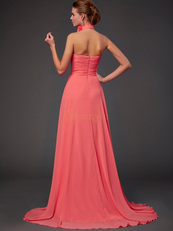 Watermelon Chiffon Halter A-Line/Princess Sweep/Brush Train Bridesmaid Dresses
