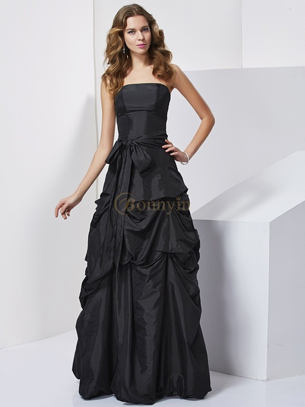Black Taffeta Strapless Sheath/Column Floor-Length Dresses