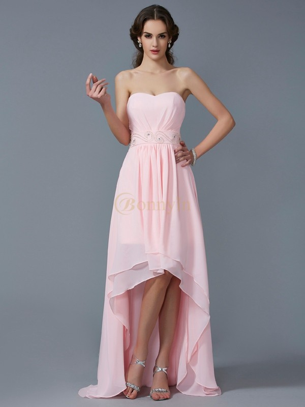 Pink Chiffon Sweetheart A-Line/Princess Asymmetrical Cocktail Dresses