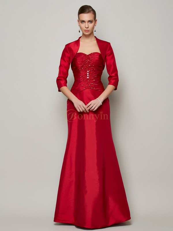 Burgundy Taffeta Sweetheart A-Line/Princess Floor-Length Dresses