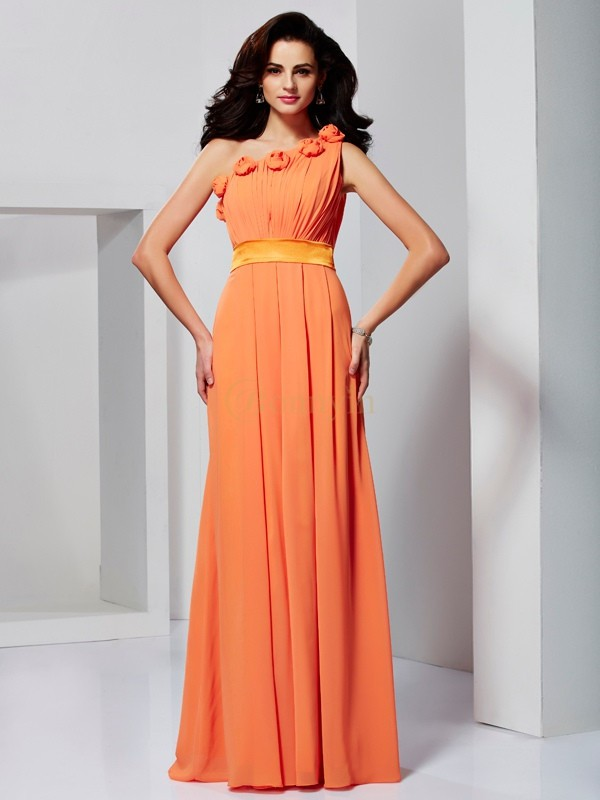 Orange Chiffon One-Shoulder A-Line/Princess Floor-Length Formal Dresses
