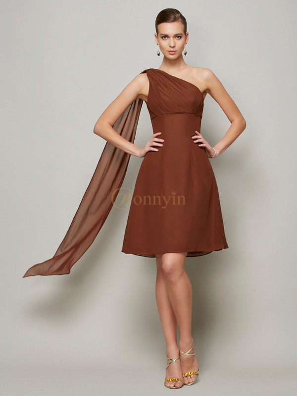 Brown Chiffon One-Shoulder A-Line/Princess Short/Mini Bridesmaid Dresses