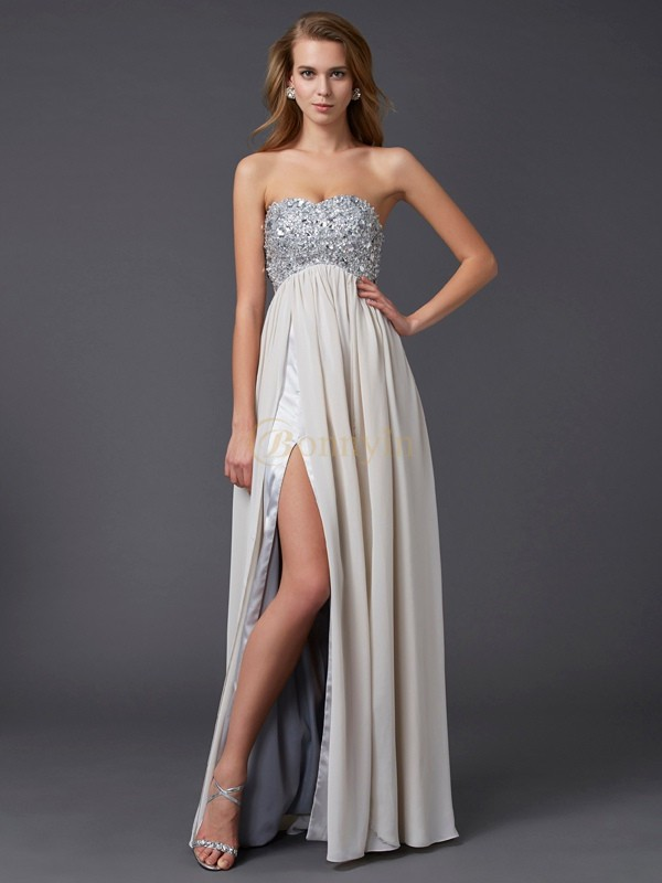 Champagne Chiffon Sweetheart A-Line/Princess Floor-Length Dresses