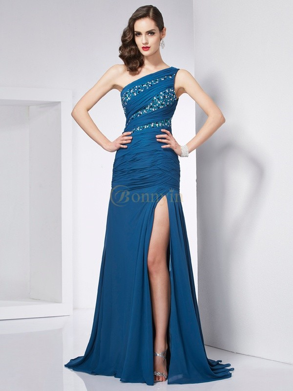 Chiffon One-Shoulder A-Line/Princess Sweep/Brush Train Dresses