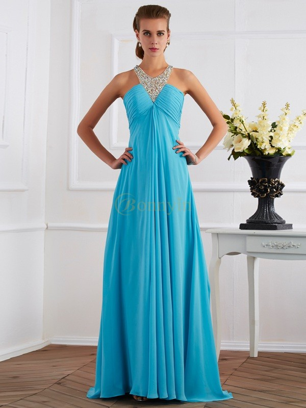 Blue Chiffon Halter Empire Floor-Length Dresses