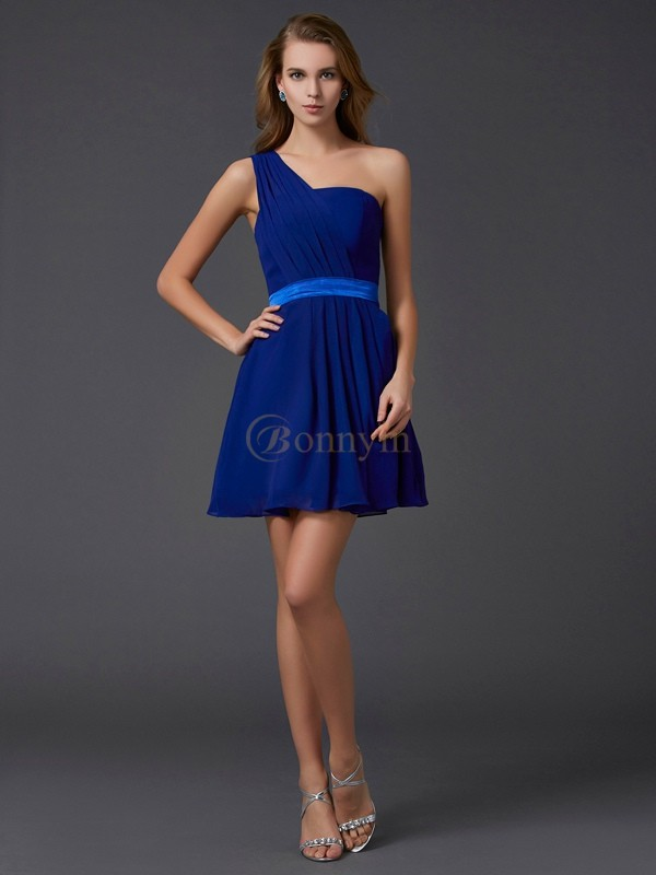 Royal Blue Chiffon One-Shoulder A-Line/Princess Short/Mini Cocktail Dresses