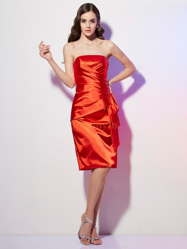 Orange Elastic Woven Satin Strapless Sheath/Column Short/Mini Homecoming Dresses