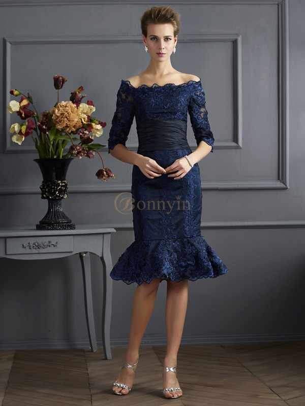 Royal Blue Taffeta Off the Shoulder Sheath/Column Knee-Length Dresses