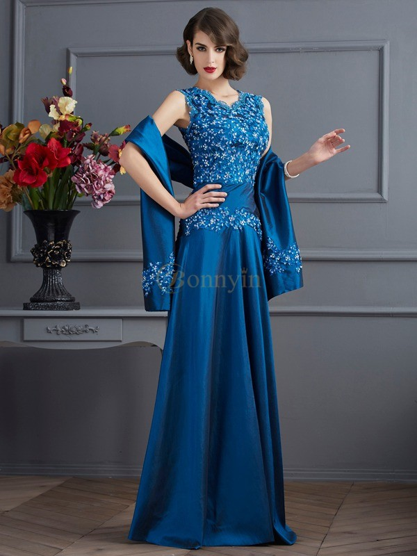 Royal Blue Taffeta V-neck A-Line/Princess Floor-Length Dresses