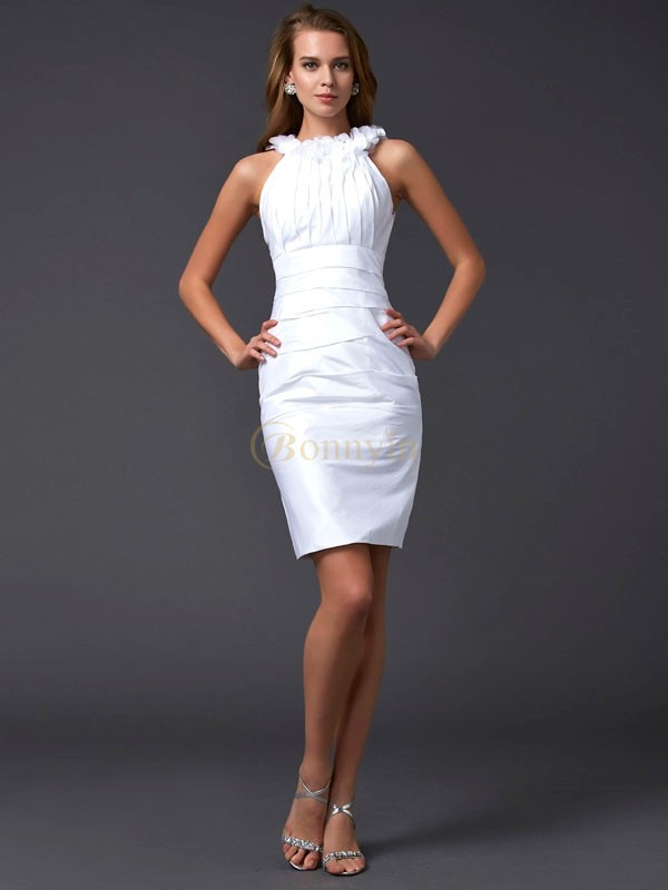 White Taffeta High Neck Sheath/Column Short/Mini Cocktail Dresses