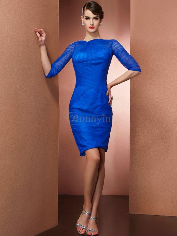 Royal Blue Elastic Woven Satin Net High Neck Sheath/Column Short/Mini Cocktail Dresses