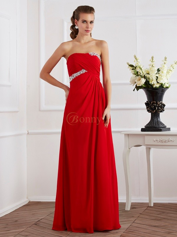 Red Chiffon Strapless Sheath/Column Floor-Length Dresses