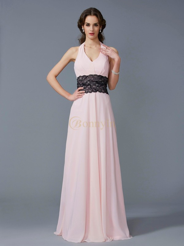 Pink Chiffon Halter A-Line/Princess Floor-Length Dresses