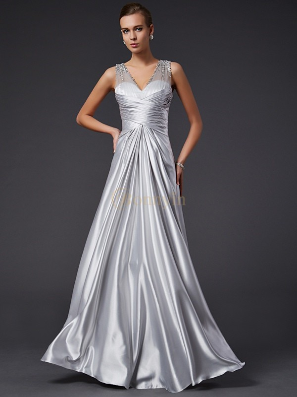 Silver Elastic Woven Satin V-neck A-Line/Princess Floor-Length Dresses