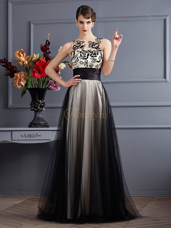 Black Net Silk like Satin Scoop A-Line/Princess Floor-Length Dresses