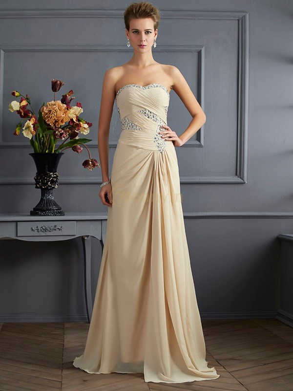 Champagne Chiffon Sweetheart A-Line/Princess Sweep/Brush Train Dresses