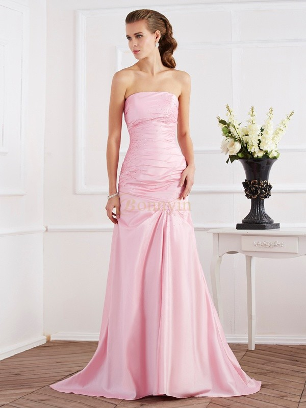 Pink Taffeta Strapless Trumpet/Mermaid Sweep/Brush Train Dresses
