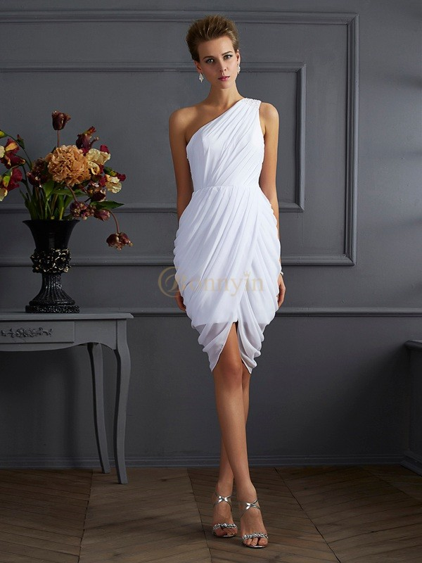 White Chiffon One-Shoulder Sheath/Column Short/Mini Cocktail Dresses