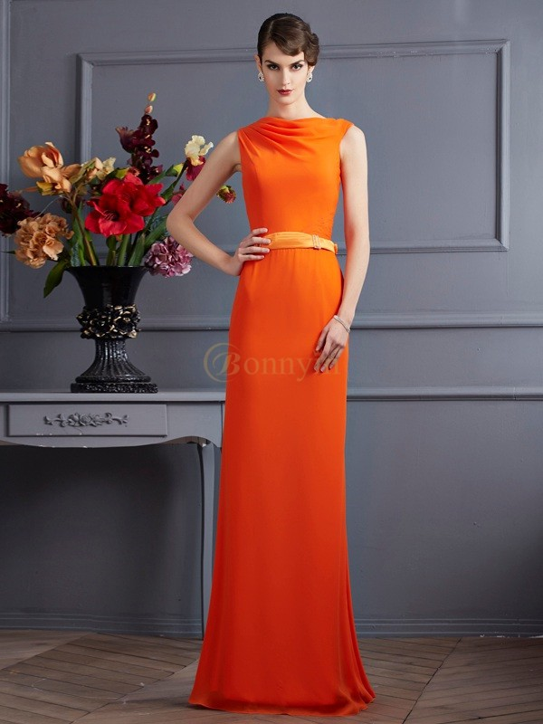 Orange Chiffon High Neck Sheath/Column Floor-Length Dresses