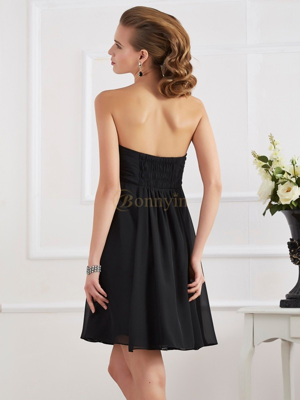 Black Chiffon Strapless A-Line/Princess Short/Mini Dresses