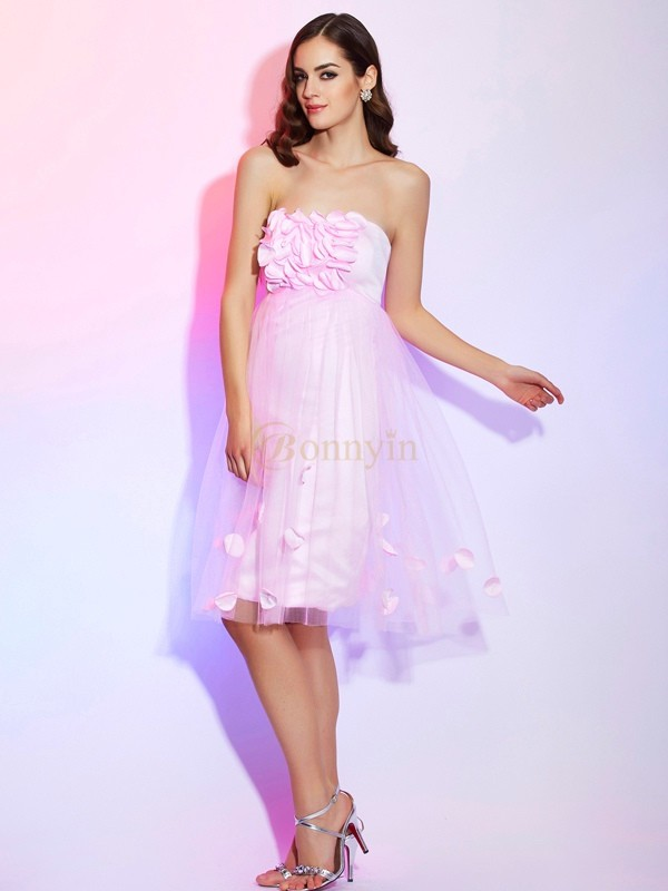Pink Net Satin Strapless A-Line/Princess Knee-Length Dresses