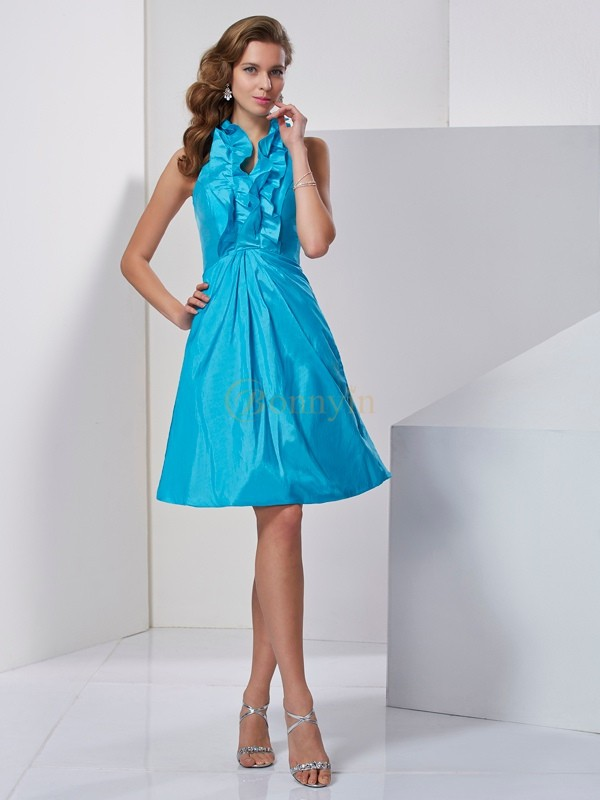 Blue Taffeta Halter A-Line/Princess Knee-Length Cocktail Dresses