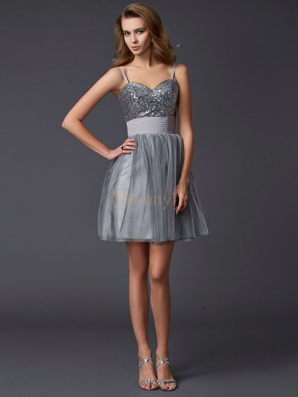 Grey Organza Spaghetti Straps A-Line/Princess Short/Mini Cocktail Dresses