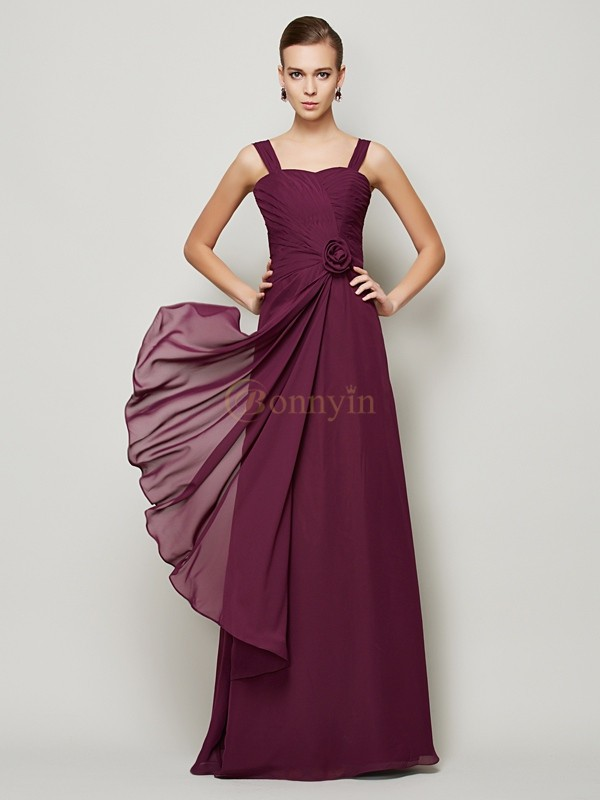 Grape Chiffon Straps A-Line/Princess Floor-Length Dresses