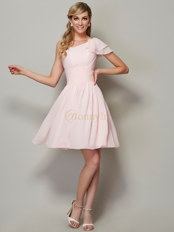 Pink Chiffon Straps A-Line/Princess Short/Mini Bridesmaid Dresses