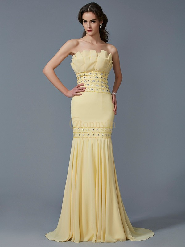 Daffodil Chiffon Strapless Trumpet/Mermaid Sweep/Brush Train Dresses