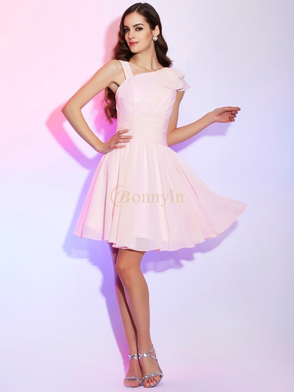 Pink Chiffon A-Line/Princess Short/Mini Cocktail Dresses
