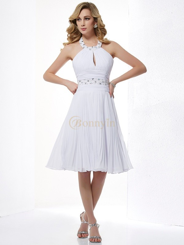White Chiffon Halter A-Line/Princess Knee-Length Dresses