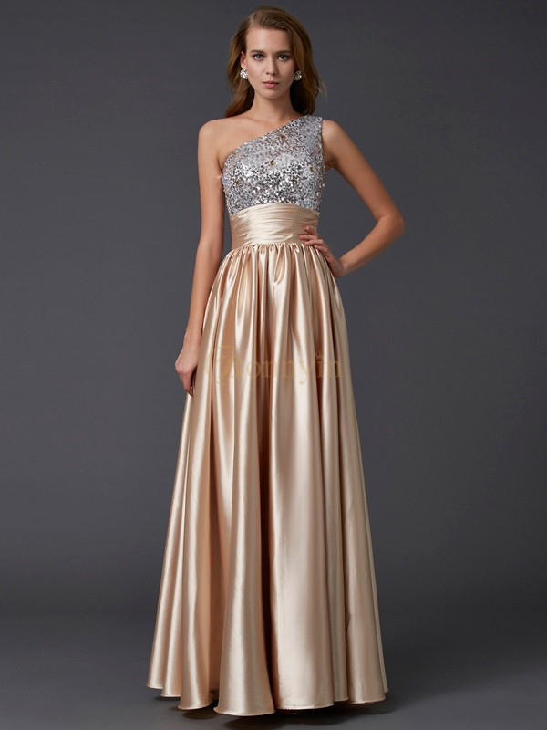 Champagne Elastic Woven Satin One-Shoulder A-Line/Princess Floor-Length Dresses