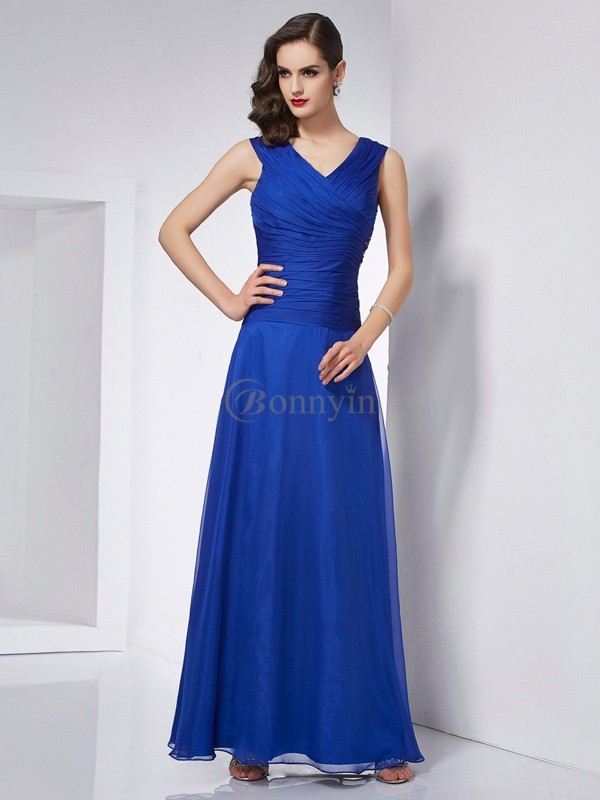 Royal Blue Chiffon V-neck A-Line/Princess Ankle-Length Dresses