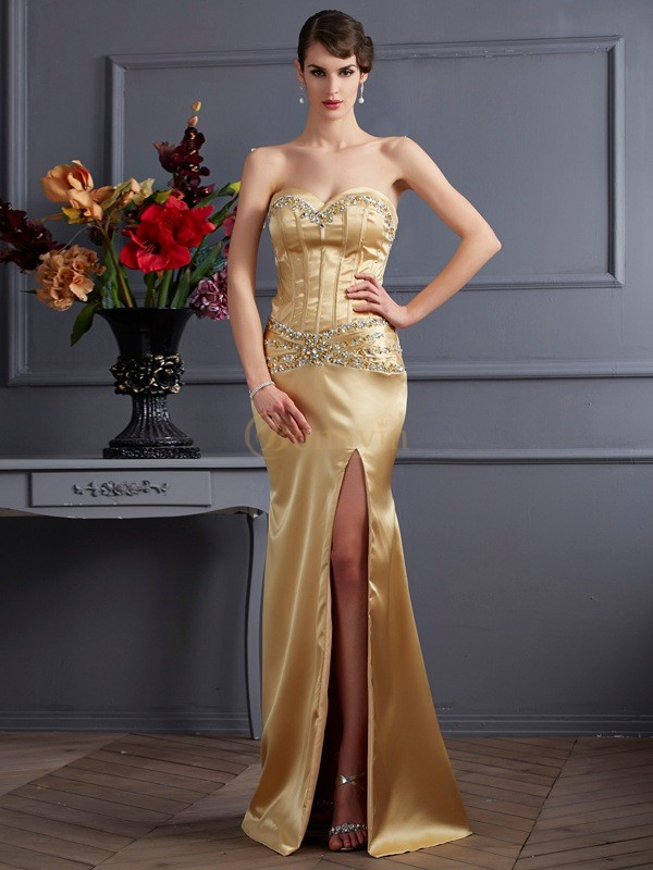 Gold Elastic Woven Satin Sweetheart Sheath/Column Sweep/Brush Train Dresses