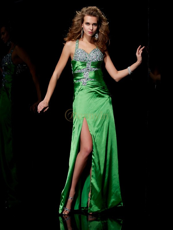 Green Elastic Woven Satin Straps Sheath/Column Sweep/Brush Train Dresses