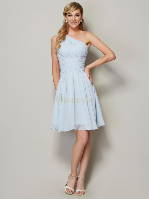 Light Sky Blue Chiffon One-Shoulder A-Line/Princess Short/Mini Bridesmaid Dresses
