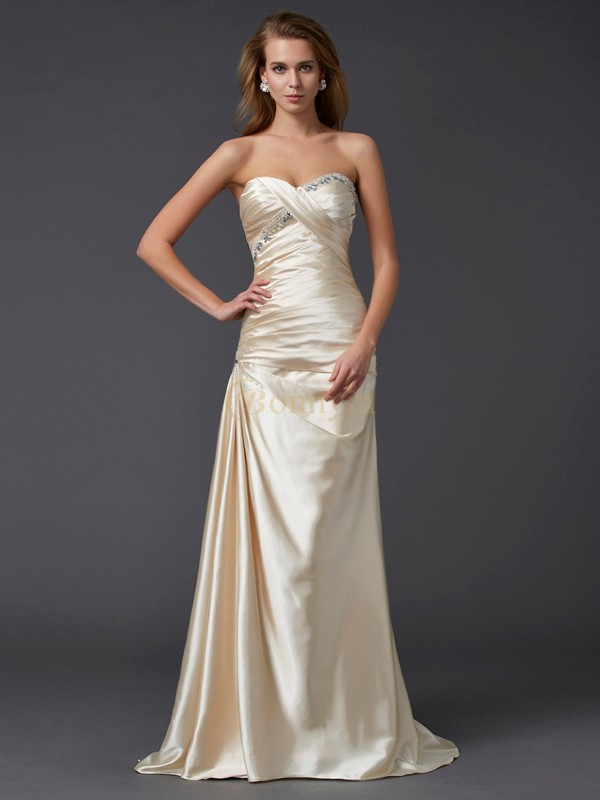 Champagne Elastic Woven Satin Sweetheart Sheath/Column Sweep/Brush Train Dresses