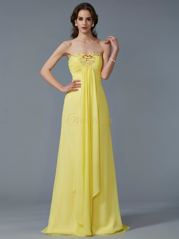 Yellow Chiffon Sweetheart A-Line/Princess Sweep/Brush Train Dresses